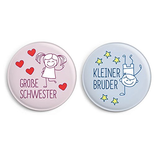 Button-Set: Kleiner Bruder/ Große Schwester (Ø31mm, Anstecker/ Pin)