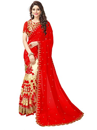 Koroshni Women's Georgette Embroidery Hlaf And Half Red Coloured Saree With Blouse...