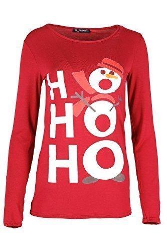 Damen Weihnachten T-shirt Damen Weihnachten Elfe Kostüm Candy-stick Langärmliges Oberteil - HoHoHo Schneemann Rot, Übergröße ()