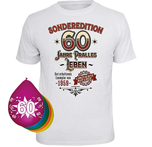 T-Shirt 5 Luftballons Sonderedition 60 Jahre pralles Leben weiss Größe L (Leben Luftballons Größe)