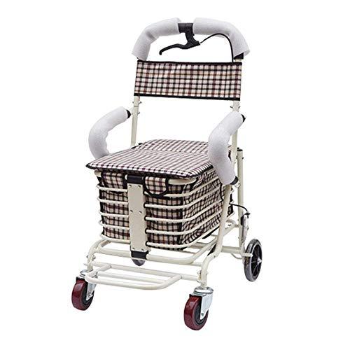 Mnjin Rollstuhl Alter Einkaufswagen, Wagen für alte Männer, Einkaufswagen, Reisen für alte Männer, Gehhilfe, Leichtes Zusammenklappen, Verstellbares Fahren, Armlehnen für das Gesundheitswese
