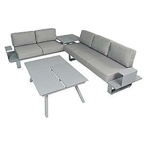 Salon d 39 angle en aluminium gris coussins gris kiona - Salon de jardin amazon ...