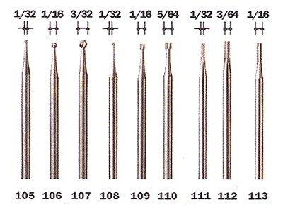 1 Dremel Graviermesser - Engraving Cutter - 105/106/107/108/109/110/112/113 - Größe / Type: #107