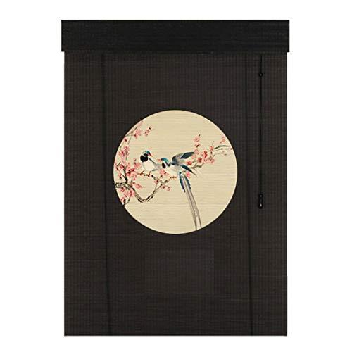 ZAQI Estores enrollables Persianas enrollables de bambú de Estilo japonés de 110 cm / 120 cm de Ancho - Jardín/Patio/Galería/Sombrilla, Negro (Tamaño : 110×130cm)