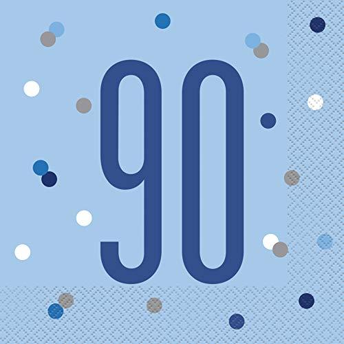 Unique Party- Servilletas de papel, Color blue & silver (83563)