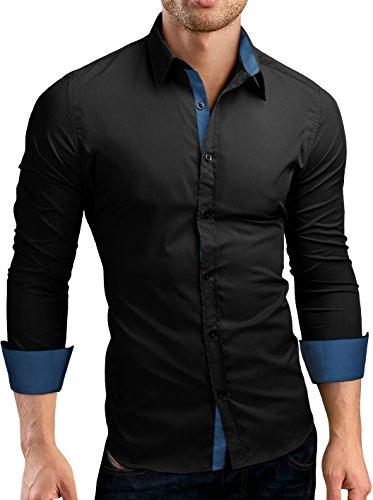 Grin&Bear Slim Fit Kontrast Hemd Herrenhemd, Langarm, Schwarz-Petrol, L, SH510 -