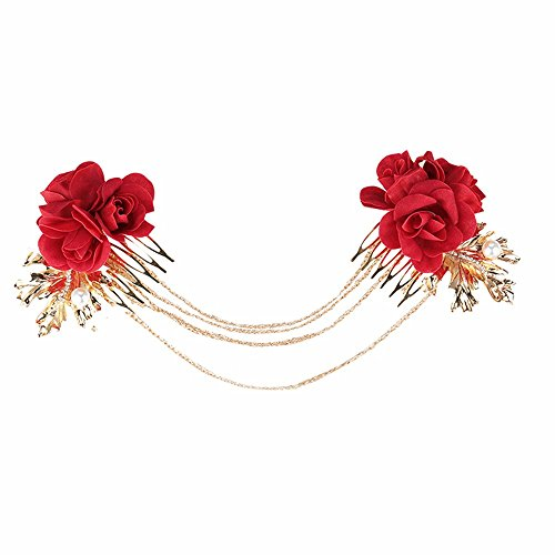 MultiKing Braut Kopfschmuck Rote Blumen Braut Kopfschmuck japanischen und koreanischen Stil Haar Kopf Haarnadel Hochzeit Kleid Haarschmuck Haare - Kleid-haar-kämme