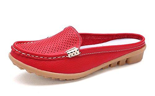 CCZZ Damen Mokassin Leder Slipper Bequem Hausschuhe Loafers Rutschfest Flatschuhe Freizeit Schuhe Sommer Schuhe