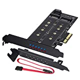 MZHOU Tarjeta de Adaptador Dual M.2 SATA III y M2 a PCIe 3.0 X4: Agregar Dispositivos SSD M.2 a la PC o la Placa Base Soporta 1 SSD SATA III M.2 (B Key) y el Segundo SSD M.2 PCIe 3.0 (M-Key)