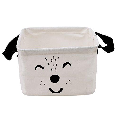 HENGSONG Cartoon Praktische Aufbewahrungsbox Korb Kosmetik Koffer Make-up Tasche Spielzeug Ablagebox Desktop Organizer für Haus Kinderzimmer Büro Aufbewahrung (Weiß) - 2