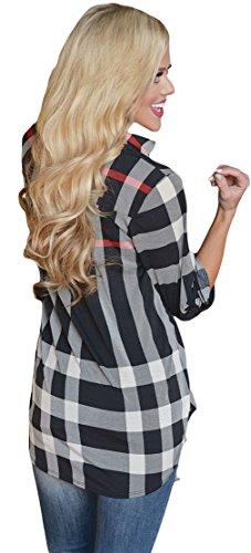 La Vogue Chemise Manche 3/4 Col V Blouse T-Shirt Blouse Top Lâche Été Femme Noir