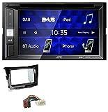 caraudio24 JVC KW-V255DBT Bluetooth USB DAB DVD 2DIN MP3 Autoradio für SSangYoung Tivoli ab 15 Piano-schwarz