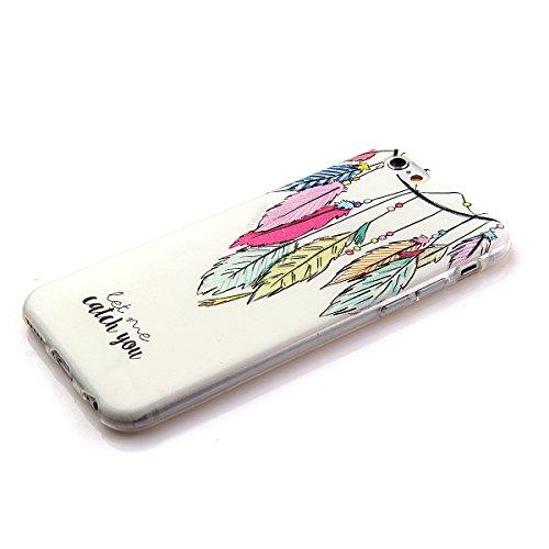 Coque en Silicone pour iPhone 6 plus, iPhone 6 plus Coque Etui Housse, iPhone 6s plus Coque Etui Portefeuille, iPhone 6 plus Silicone Case Cover, Ultra Mince Coque de Protection en Silicone et TPU pou Plume