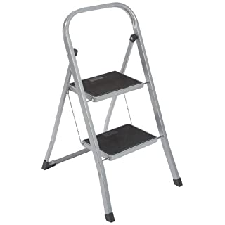 axentia 2 Step Ladder, Heavy Duty, Portable Folding Ladder, Steel Step Ladder Stool, Non-Slip Steps, 150kg Capacity, Stepladder Handrail, approx. 46 x 55 x 81 cm, Silver-black