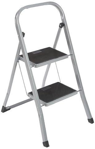axentia Trittleiter 2 Stufen klappbar - Klapptritt aus Metall - Klappleiter mit Haltebügel - Klappleiter standfest - Stufenleiter rutschfester Trittbelag - Klapptreppe bis 150 kg - Haushaltstritt