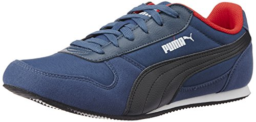 Puma Men's PondaDP Blue Wing Teal, Black and High Risk Red Sneakers - 10 UK