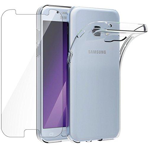 Funda + Cristal para Galaxy A5 2017, Leathlux Transparente TPU Silicona [Funda + Vidrio Templado] Ultra Fino Protector de Pantalla 9H Dureza HD y Flexible Back Case Cover para Samsung Galaxy A5 2017