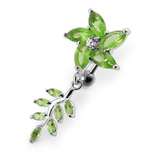 Bijou de corps anneau de nombril fleurs avec pierres Argent Sterling avec 14G-3/8 Inch (1.6x10MM) Banana Acier chirurgical 316L Light Green