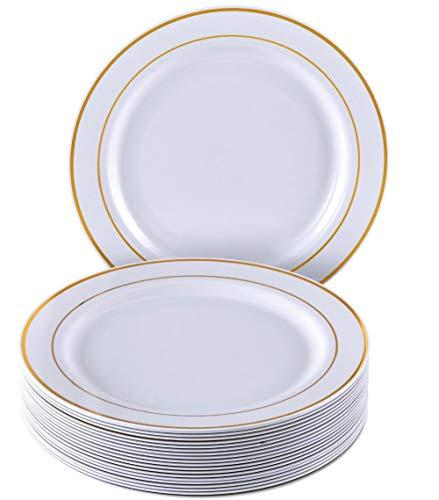 MODERNES EINWEGGESCHIRR-SET (20 Teile) | 20 Salat/Dessert-Teller | robustes Kunststoffgeschirr | eleganter Look | für gehobene Hochzeiten und Speisen (Golden Glare Kollektion-Weiß/Gold)