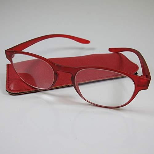 Schicke Lesebrille +2,0 rot mit langen Bügeln Fertigbrille für SIE & IHN Etui