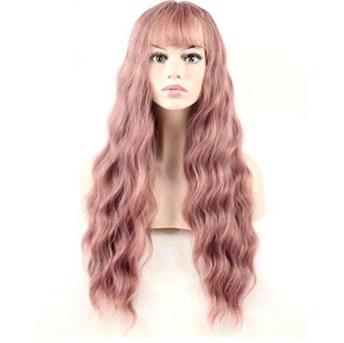 YZ-YUAN Rose Gold Perücke Weiblichen Luft Pony Mais Hot Lange Lockige Haare Synthetische Haarteil Frauen Rolle Spielen Kostüme ()