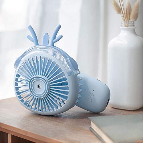 FENGCLOCK Mini Tragbar Mobile Air Conditioner Persönlicher, 3 in 1 Sprühbefeuchter Tierohr Handy-Ladegerät Handventilator, für Büro,Reise,Blue (Mini-mobile-handy-ladegerät)
