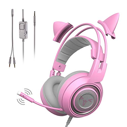 SOMIC G951S Rosa Gaming-Headset mit Mikrofon, Mädchen Rosa Katze Ohr-Kopfhörer mit 3,5-mm-Kabel...