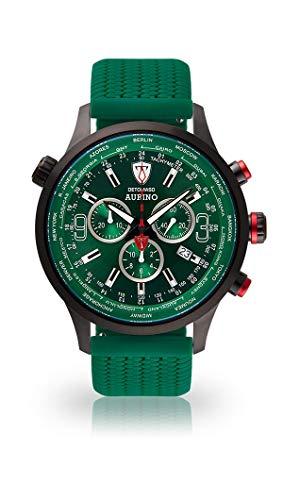 DETOMASO AURINO Herren-Armbanduhr Chronograph Analog Quarz grünes Silikonarmband grünes Zifferblatt DT1061-K-775