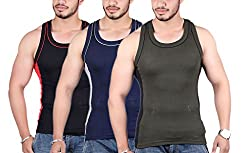 White Moon 999 Gym Vest - Pack of 3 (Blue_Black_Green_80)