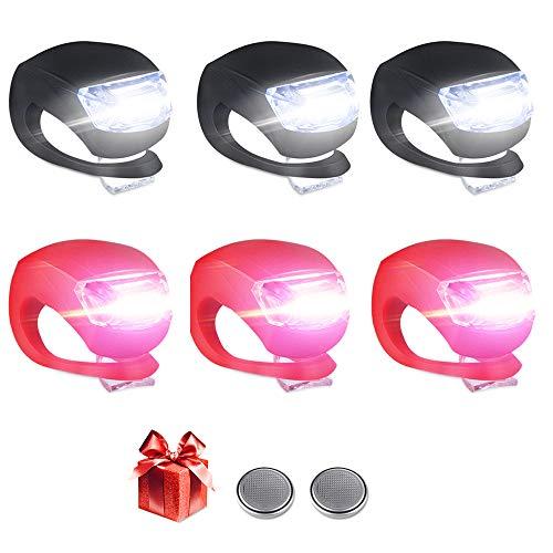 6 Stück LED Lampe Licht, Nasharia LED Kinderwagen Set, LED Sicherheitslicht Silikon Leuchte Kinderwagen Kinderwagen (3X LED Weißlicht & 3X LED rotlicht) Blinklicht Taschenlampe