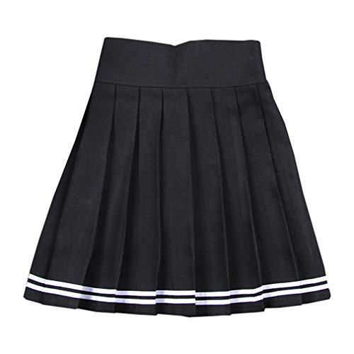 9e73803dc60 Hibote Mini Falda Japonesa Falda Plisada de Cintura Alta con Pantalones  Cortos Estudiantes Sólido Muchacha Plisada