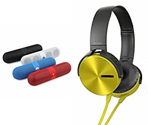 MIRZA Bluetooth Speaker Headphones & Extra Bass XB450 Headphones for PANASONIC P4 1(Facebook Speaker,Multimedia Speaker,Bluetooth Speaker,Compatible with Bluetooth, Pen Drive, SD card, Aux Colours May Vary & Extra Bass XB450 Headphones,Sperts Headphones)