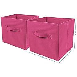 Top Home Solutions - Conjunto de 2cajas de almacenamiento en forma de cubo, plegables, para habitaciones juveniles, dormitorios o despachos