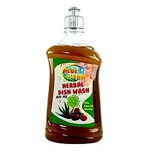 Aloe Clean Herbal Dish Wash & Slab Gel 500 Ml (Single) - Chemical Free Dish Washing Detergent + Reetha + Aloe Vera Juice + Lemon Oil