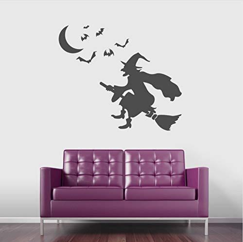 Wandtattoo Aufkleber Halloween Hexe Aufkleber fliegende Fledermaus Spuk Wandkunst Schlafzimmer Wohnzimmer Poster Dekor 57X66Cm ()