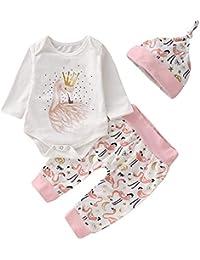 Puseky 3pcs   Set Infantile bébé Barboteuse Cygne vêtements à Manches  Longues Combinaison + Pantalon + 304bdef27b3