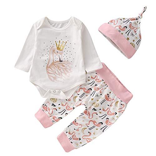 Chennie 3pcs Mädchen Kleidung Set Kinder Langarm Weiß Strampler + Flamingo Hosen + Hut Outfits (Color : 01, Size : 0-6M)