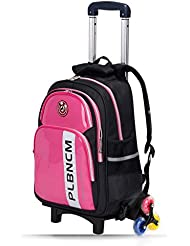 ModèleD53-Sac à dos avec roulettes sac d`école à roulettes sac de voyage à roulettes avec trois poulies pour garcons filles enfant étudiant