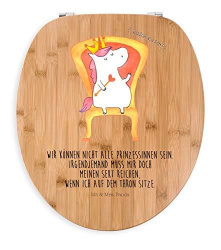 Mr. & Mrs. Panda Holz, Toilettensitz, Motiv WC Sitz Einhorn Prinzessin mit Spruch - Farbe Transparent