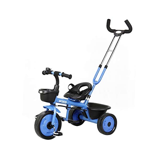 GSDZSY - 2 In 1 Children Tricycle Kids Trike,Push Rod Detachable And Control Direction,Seat With Seat Belt,Suitable For Babies 18 Months To 5 Years Old,Blue_B GSDZSY ❀ Material: high carbon steel + ABS + EVA wheel, maximum load 30 kg ❀ Features: The push rod can adjust the height and control direction, suitable for people of different heights; the seat has a seat belt. ❀ Performance: high carbon steel frame, strong and strong bearing capacity; EVA wheel is non-slip wearable, suitable for all kinds of road conditions, good shock absorption, baby ride more comfortable 1