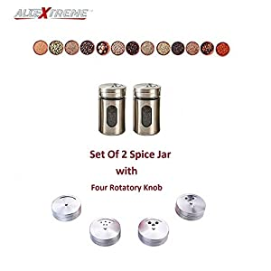 AllExtreme Round Stainless Steel Spice Jar Container with Shaker Lids and 4 Different Knobs for Salt, Pepper and Seasonings