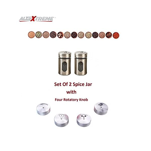 AllExtreme Stainless Steel Round Spice Containers with Shaker Lids for Salt, Pepper, Herbs or Seasonings (Pack of 2)