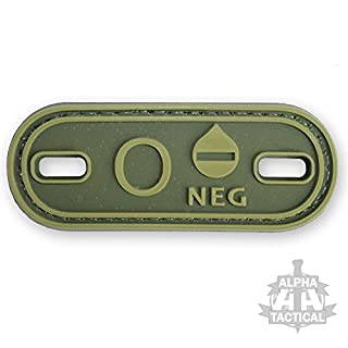 Alpha Tactical VELCRO PANEL RUBBER BLOOD GROUP GREEN PATCH (O NEG)