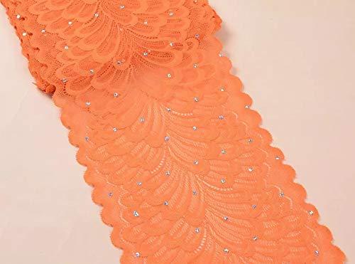 """TR04 10 yardas 6\"""" (15 cm) ancho elástico poliéster bordado lentejuelas patrón floral elástico encaje Trim DIY Craft todos los colores naranja"""