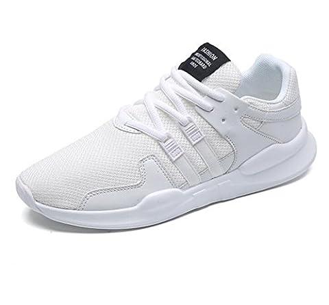 Chaussures de course sport, Chaussures de course à pied Casual Athletic Fashion Chaussons de sport respirants Chaussures de marche Soft Sole Lightweight Lace Up Gym Sports pour femmes et hommes 39-44 ( Color : White , Size : 40 )