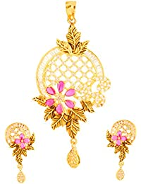 Bling N Beads 18K Gold Plated Floral Pendant Set With Earrings Perfect Diwali Gift For Her
