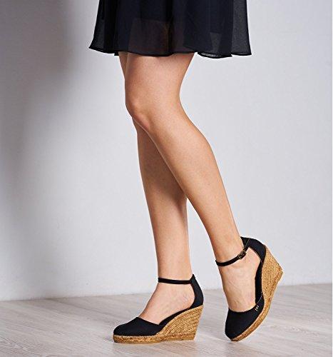 Noir Fatto Con Tela Estartit Comfort Pollici cinghia Elegante 3 Chiusa Caviglia Viscata Espadrillas Tacco Punta In Spagna aBOqxtazw