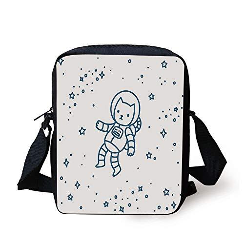 Kids,Cute Cartoon Astronaut Pioneer Cat Flying in Outer Space Doodle Style Constellation,Dark Blue Print Kids Crossbody Messenger Bag Purse -