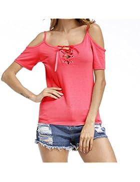 SHUNLIU Camisetas Mujer Blusas de Mujer Camiseta de Manga Corta de V-cuello de Mujeres Huecos Camiseta de Color...
