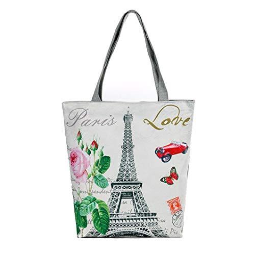 Felicove Damen Schultertasche, Paris Tower Canvas Tragetaschen Lässig Strandtaschen Frauen Einkaufstasche Handtaschen
